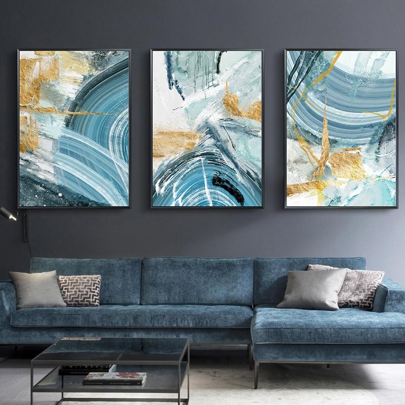 Современный абстрактный холст картина постер и печать для гостиной синий спальня домашний Декор картина большая стена искусство Золотой без рамки