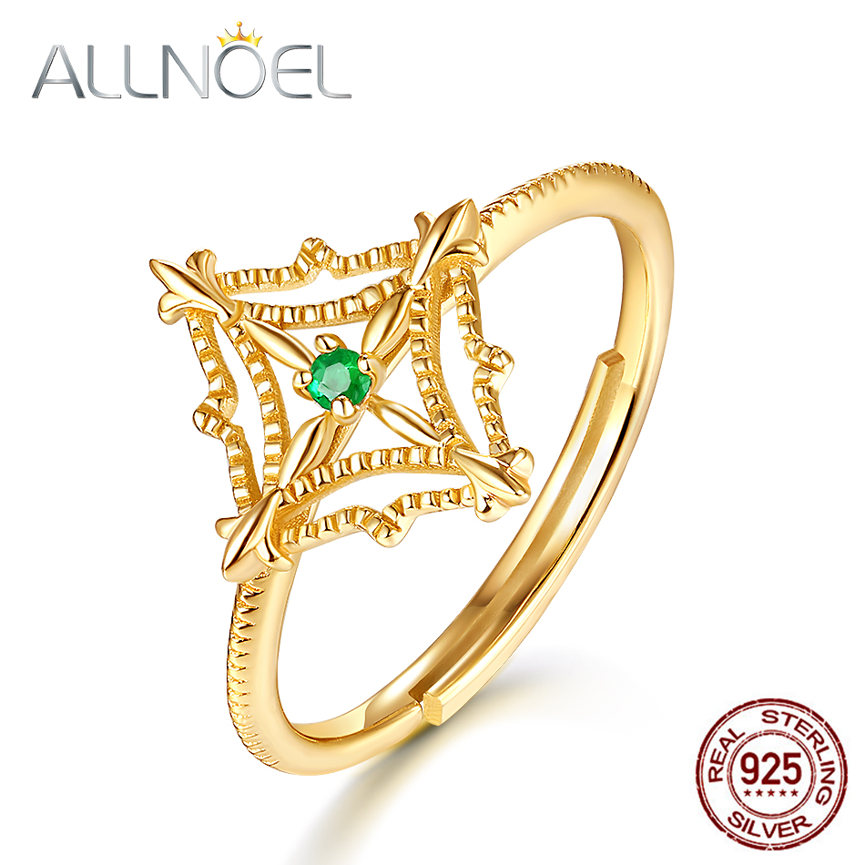 572d6fe97975 ALLNOEL sólido 925 anillos de plata esterlina para mujer Natural rubí  Esmeralda Topacio anillo de dedo de piedras preciosas Vintage hueco joyería