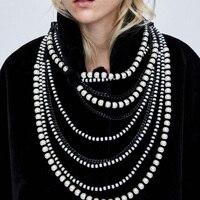 Mode Luxus Marke Lange Simulierte Perlenkette Kragen Halskette Erklärung Schmuck Halskette & Anhänger
