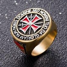 US Size 7 to 15 Stainless Steel Retro Iron Knights Templar Ring Men Red Enamel Cross Ring Cubic Zirconia Men Gift