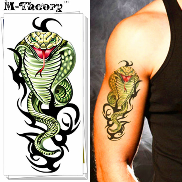 M-Theory 3D Cobra Snake Body Makeup Temporary 3d Tattoos Sticker Flash Tatoos Body Arts Swimsuit Makeup Tools
