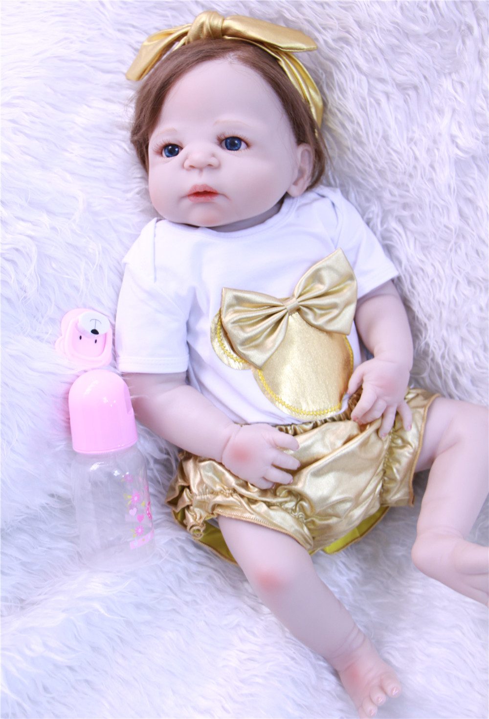 Bebes Reborn girl baby dolls 22 full silicone dolls reborn can bathe rooted hair educational toy dolls for kids giftBebes Reborn girl baby dolls 22 full silicone dolls reborn can bathe rooted hair educational toy dolls for kids gift