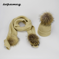 New Winter Warm Women Fashion Knitted Scarf And Hat Set Crochet Ski Cap Beanie Skullies Adult