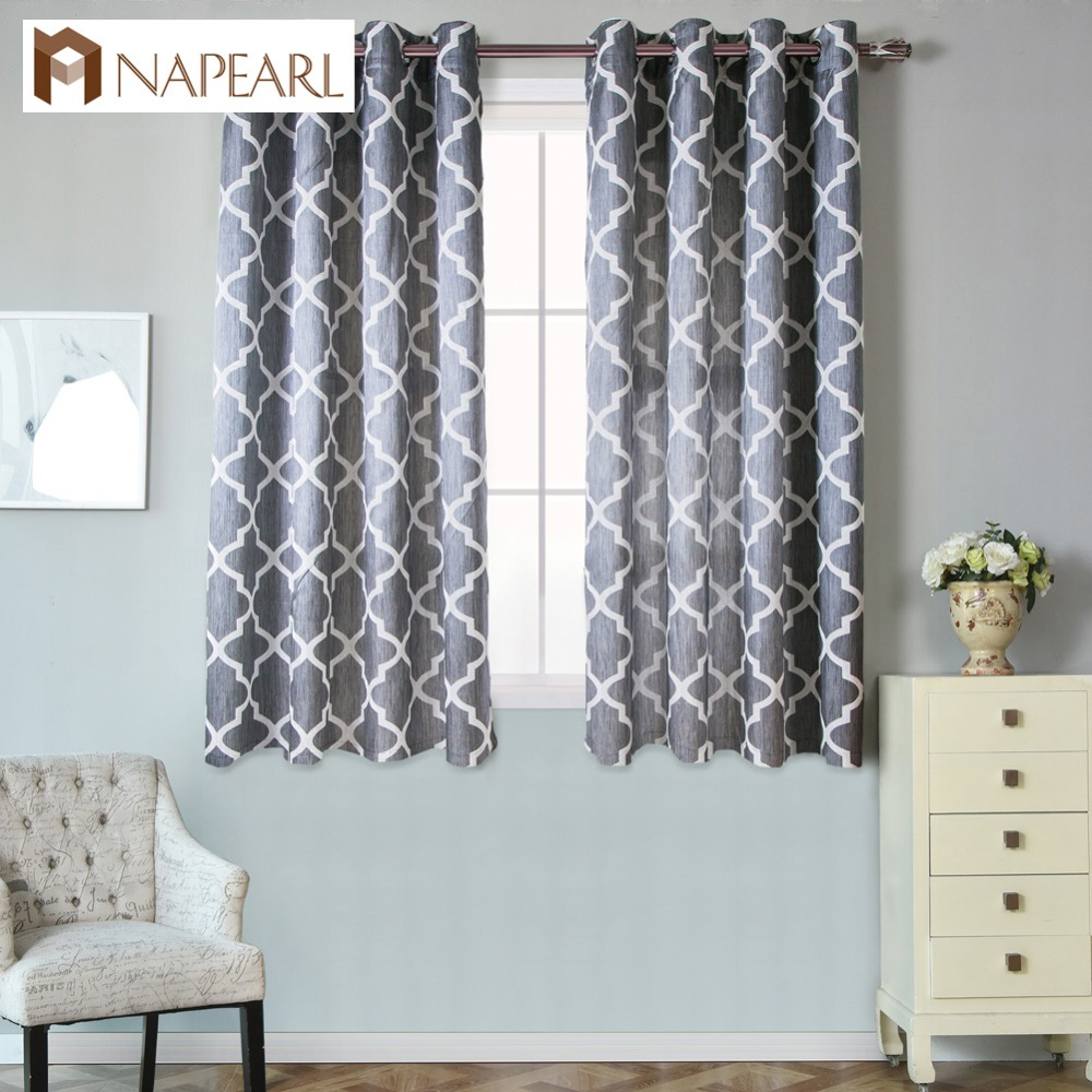 Short Ready Made Modern Curtain Living Room Window Kitchen Window Grommet Top Treatments Semi-blackout Bedroom
