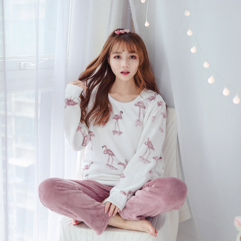 Winter Cartoon Hamingo Flannel Women   Pajama     Sets   Sweet Coral Fleece Thickened Velvet Warm Sleepwear Girl Homewear Pyjamas women