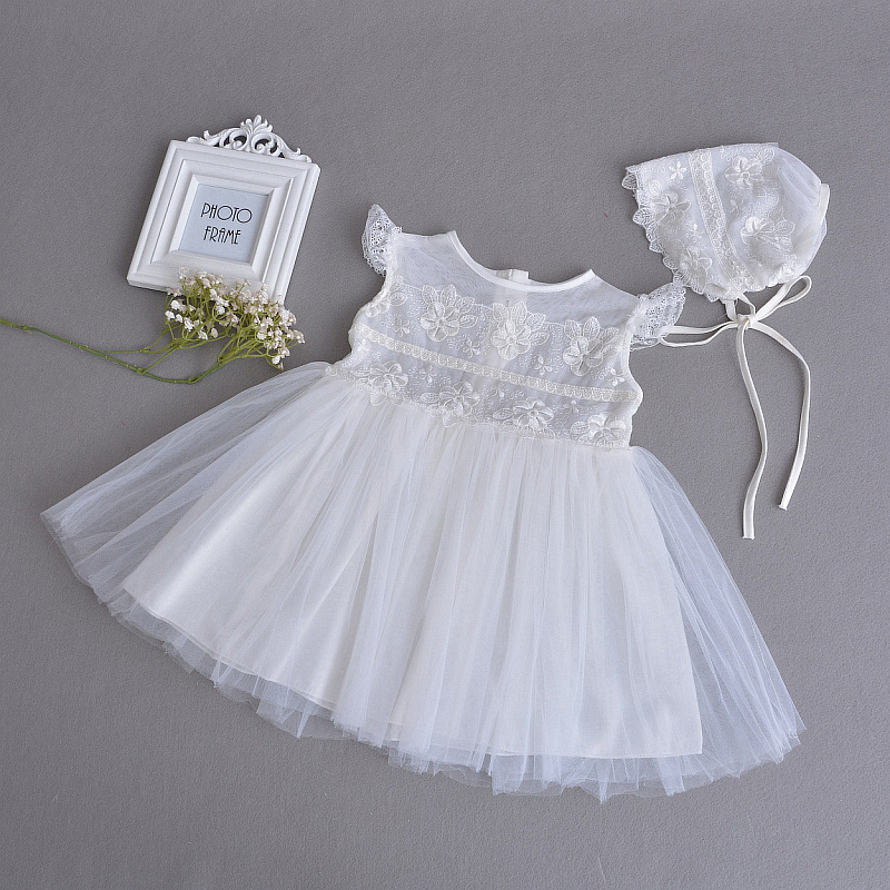 1 and 2 Year Old Fashion Baby Girl Dresses Whtie Formal Party Wear Vestido 2018 Summer Toddler Baby Girls Clothes RBF174026