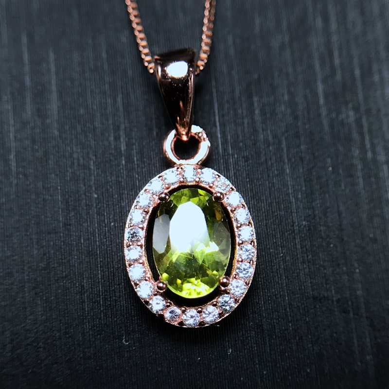 The simplest style, natural olivine necklace, sale, 925 silver, small and exquisiteThe simplest style, natural olivine necklace, sale, 925 silver, small and exquisite
