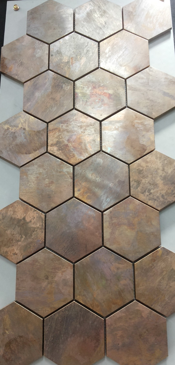 China hexagonal copper wall tile in bronze brushed for kitchen china hexagonal copper wall tile in bronze brushed for kitchen backsplash a6yb132 in wallpapers from home improvement on aliexpress alibaba group dailygadgetfo Image collections