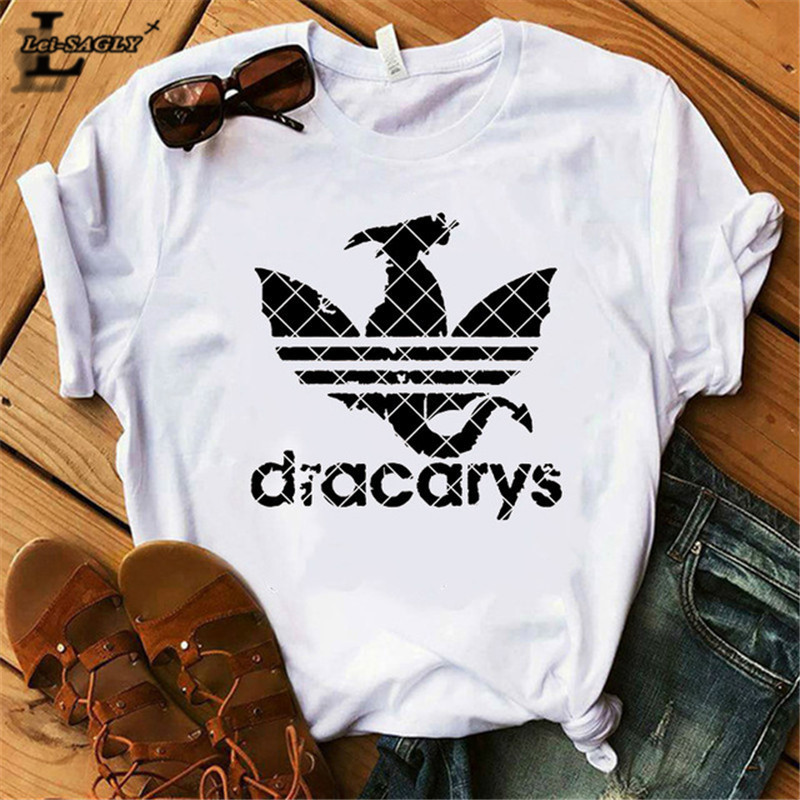 Lei SAGLY DRACARYS Game of Throne Female   T     Shirt   Women Summer Short Sleeve White Casual Print Tshirt Homme Streetwear   T  -  shirts