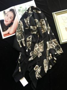 Image 5 - 純粋なカシミヤスカーフ女性デザイナーの高級ブランド宇宙飛行士スカーフバンダナショールラップ冬秋ファムスカーフ 110*200