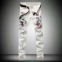 Европейских дизайнер мужская мода джинсы известная марка класса люкс качество Волк pattern тонкий прямой белые джинсы Джинсовые брюки для мужчин
