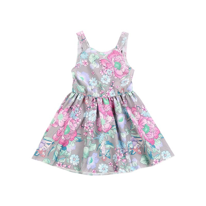 Baby Girl Dress 2019 Baby Dresses Floral Print Birthday Dress For Girl Summer Sleeveless Lace Baby Clothes Dresses Princess