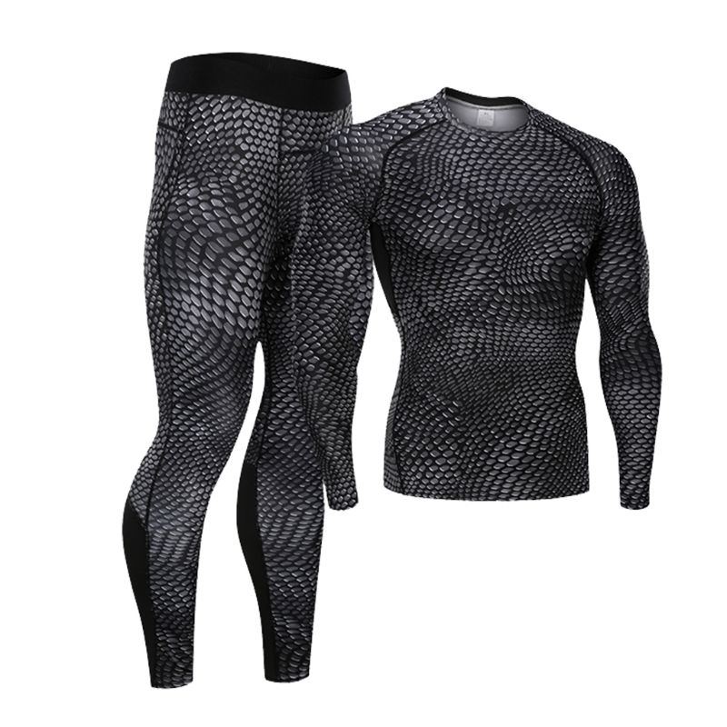 Mens Athletic Compression Fitness Sports Outfit Snakeskin 3D Printing Elasticity Jogging Suit Quick Dry Gym Workout Tracksuit