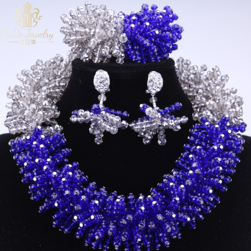 Dudo Wedding Jewelry Sets Indian Grey & Royal Blue African Jewelry Beads Sets Nigerian Wedding Gift Necklace Set Free Shipping Dudo Wedding Jewelry Sets Indian Grey & Royal Blue African Jewelry Beads Sets Nigerian Wedding Gift Necklace Set Free Shipping