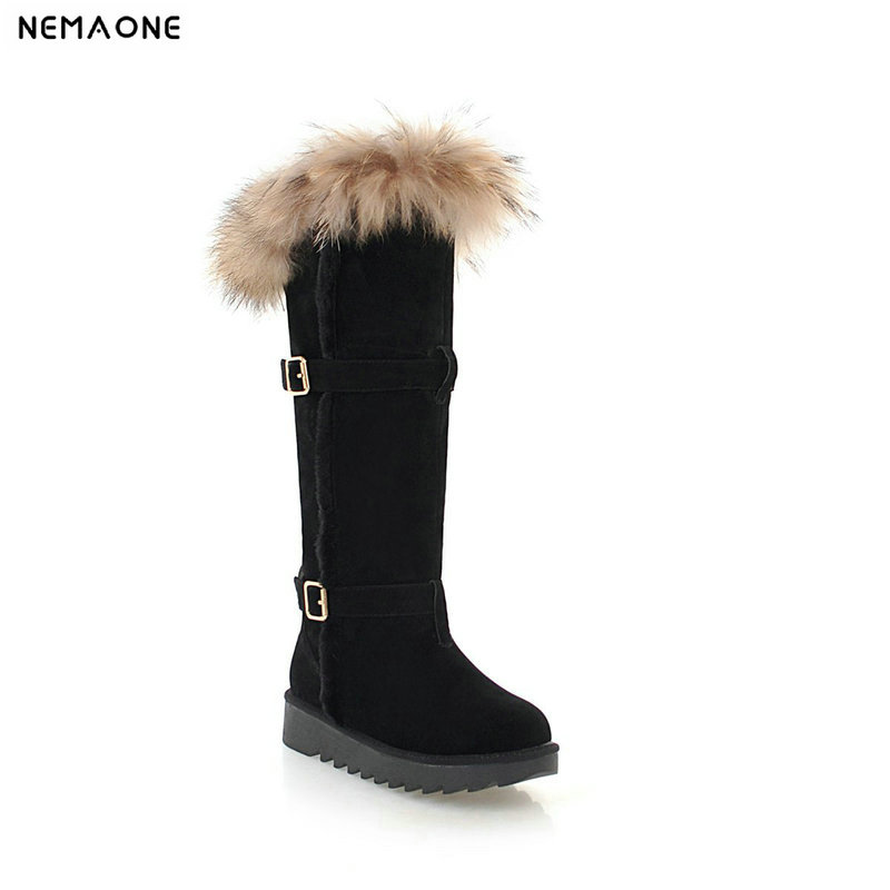 NEMAONE women flat platform knee high snow boots winter warm ladies boots woman sexy fur shoes