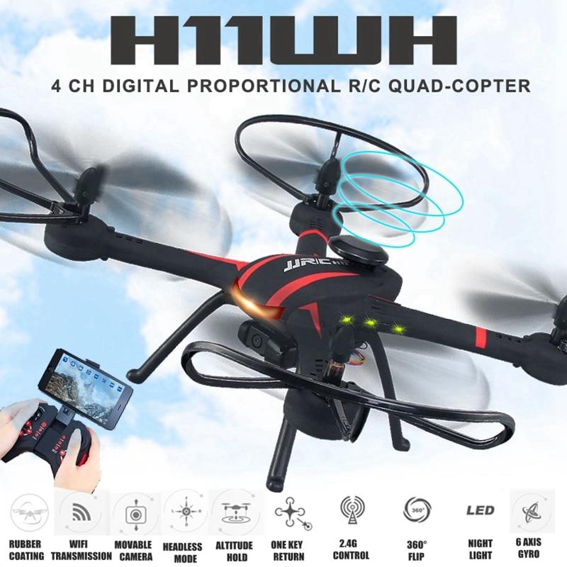 Original JJRC H11WH FPV RC Quadcopter 2.4G 4CH 6-axis Gyro RTF RC Drone with WiFi Camera 2MP HD Modo Headless 3D-flip Set-altura 1331w wifi 2 4ghz 6 axis gyro remote control quadcopter record drone rtf