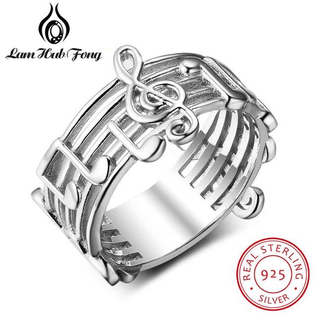 Mulheres 925 Esterlina Anéis De Prata De Largura Projeto da Nota Musical Acessórios Anel de Dedo Feminino Jóias Presentes Para Amigos (Hub Lam fong)