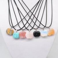 10pcs Apple Shape Stone Pendant Necklace Black Leather Cord With Crystal Agate Aventurine Rose Quartz Stone