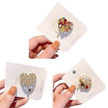 Korean Women Colorful Rhinestone Heart Seashell Alloy Hair Stick Pin Candy Ponytail Holder Hairpin Student Hair Accessories Clip