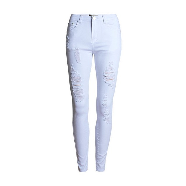 Women's White Vintage Ripped High Waist Skinny Jeans