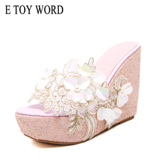 E TOY WORD Summer flowers Platform Wedges women slippers fashion High Heels bohemian national style Shoes