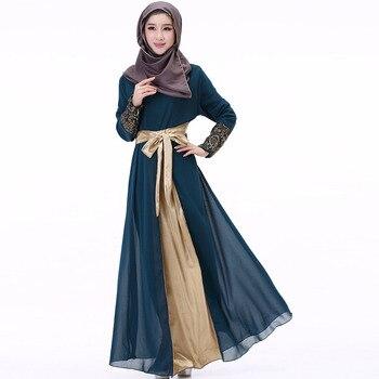 a733d80cc 2019 Dubai Kaftan vestido musulmán fiesta Abaya mujer árabe de gasa y encaje  cinturón de Turquía el Islam oración caftán marroquí vestidos