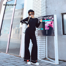 2 Piece Set 2018 Women Autumn Black Long Sleeve O-neck Casual Knitting Office Top and Full Length Broad Leg Pants Two Piece Set 2 piece set women summer pink long sleeve o neck knitting casual top and wrap boho korean club mini dress two piece set ladies