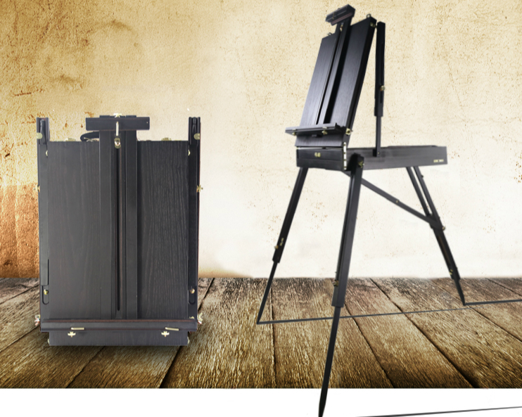 Classical wooden painting easel sketching convenient portable black/ dark red oil painting box special for artists sketch box italian red elm oil box new four feet easel multi function easel with oil painting box made by natural red ju wood