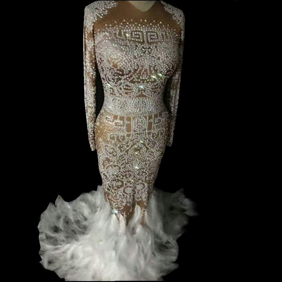 Блестящие стразы перо платье телесного цвета Для женщин пикантная обувь для ночного клуба камнями длинное платье Костюм для выпускного ден