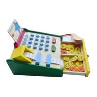 Kids Pretend Play Simulation Supermarket Cash Register Toys Roleplay Cashier Educational Toys Wooden Model Calculator Scanner