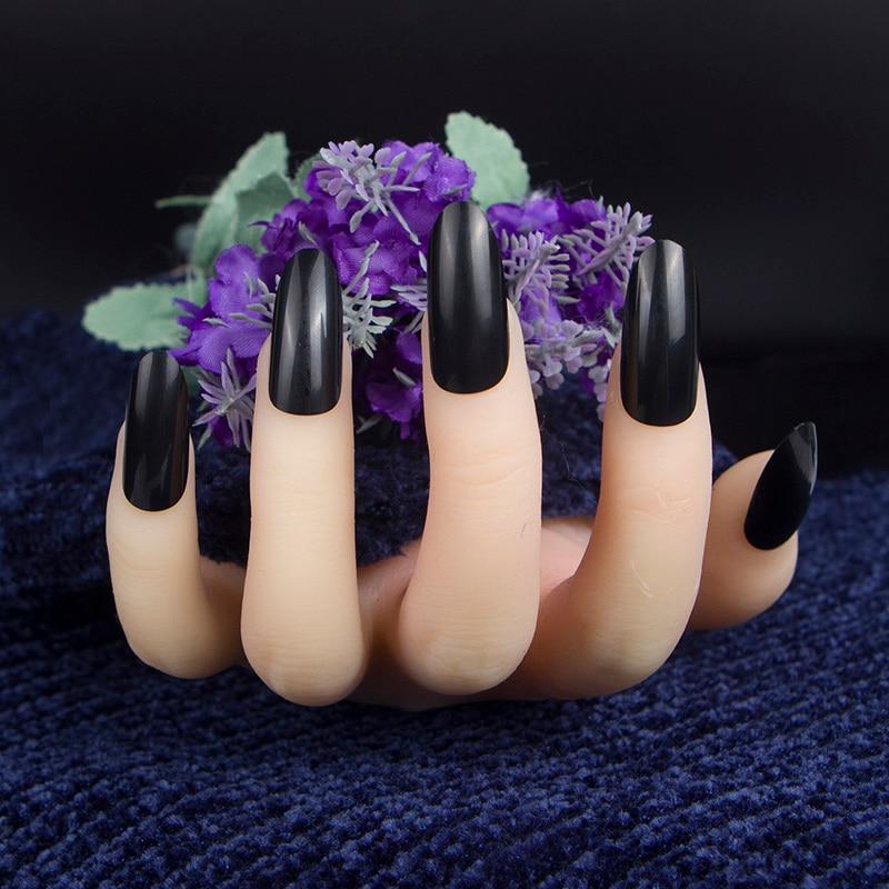 24Pcs black false nails over long oval round head fake nails pure ...