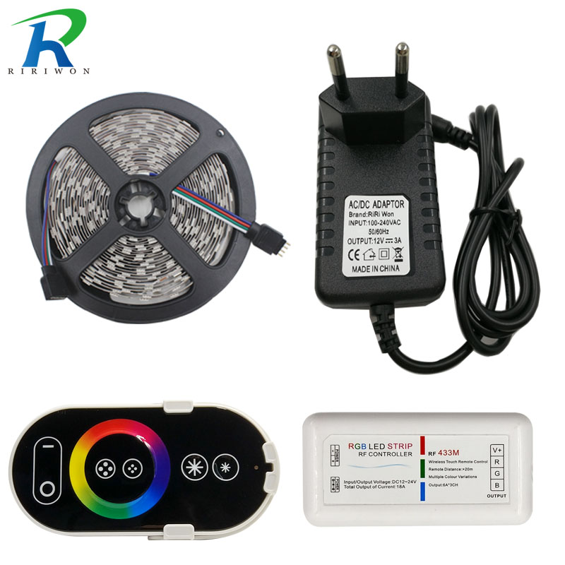 RiRi won SMD RGB LEDs Strip light 5050 5m 10m 15m 20m waterproof led light 60Leds/M led tape diode Controller DC 12V power set