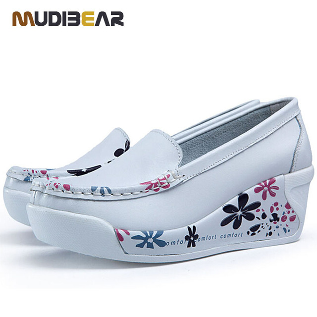 2016 spring genuine leather soft outsole work shoes female white swing shoes woman plus size wedges single female shoes