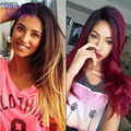 Ms Cat Ombre Malaysian Straight Hair 3 Pcs Ombre Hair Extensions Blonde  Black and Red Tissage Bresilienne Burgundy Human Hair