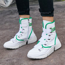 Купить с кэшбэком NAYIDUYUN    Vulcanized Shoes Womens Cow Leather Lace Up Tennis Sneakers Wedge Low Heel Oxfords Casual Shoes Outdoor Loafers New