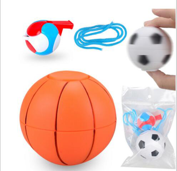 Free ship 6 sets New listed plastic football basketball magic cube finger fidget spinning toy for kid party favors bag fillers