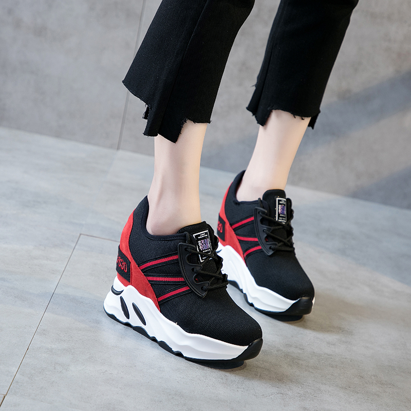 2018 Autumn Sneakers Shoes Women Casual Shoes High Heel 9cm Female Leisure Platform Shoes Height Increasing Wedges Lady Shoes candy color slimming wedges casual shoes women platform shoes autumn trendy health lady beauty swing fitness shoes increasing