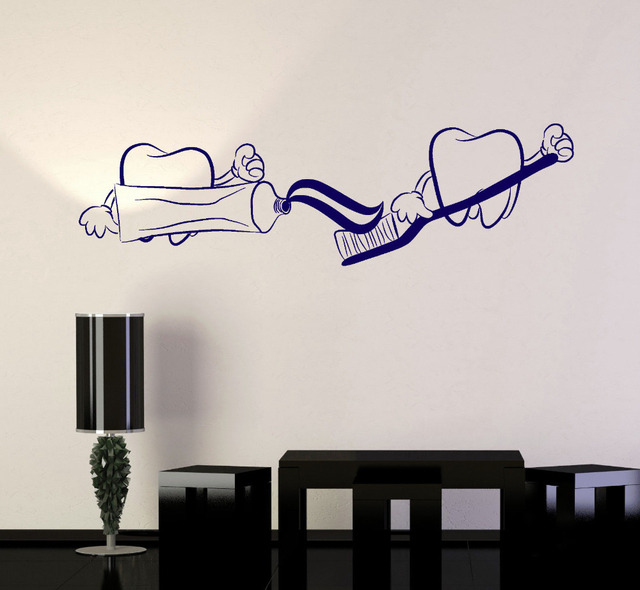 Teeth Toothpaste Funny Stickers Bathroom Wall Decor Waterproof Vinyl Decals Dentist Dentistry New Arrival Wallpaper