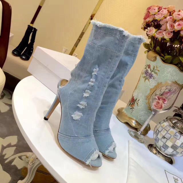 Spring Autumn Denim Peep Toe Mid-calf Boots Women High Heel Slip-On Female Booties Mujer Unique Design Dress Shoes Women solid black winter spring women fringe decoration shoes slip on pointed toe spike high heels mid calf boots women free shipping