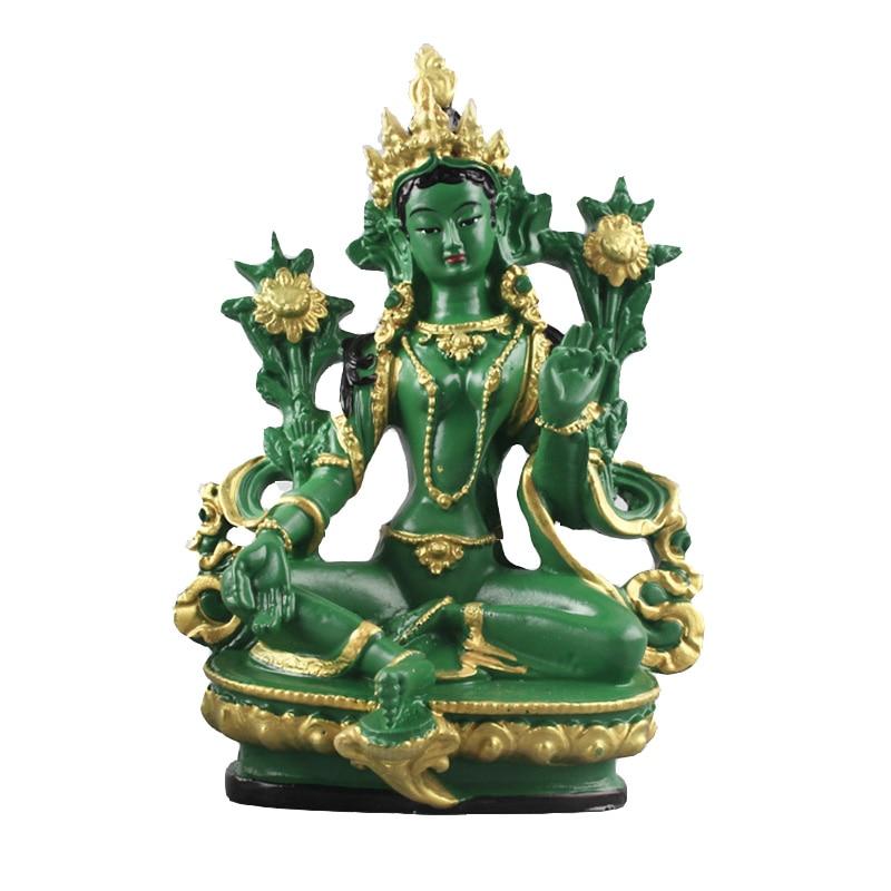 Aprox. 13.5CM Height Green Tara Small Resin Statues Tantric Statues Buddha Statue Buddhism Buddhist Figure Figurine