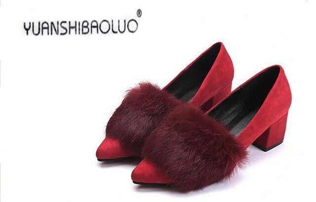 Точка нового фонда 2016 осенние зимы является легкие туфли удобную обувь настоящее кролик меховой моды джокер