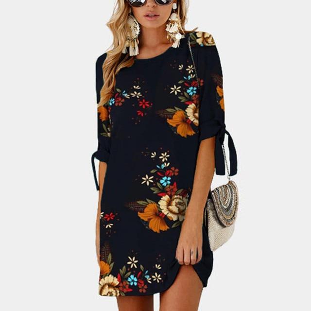 2019 Women Summer Dress Boho Style Floral Print Chiffon Beach Dress 2