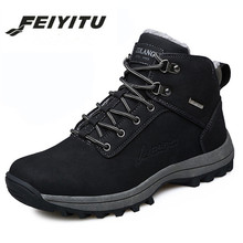 feiyitu Men Boots Winter Fur Warm Snow Designer Luxury Male Combat Shoes Driving Ankle Tactical Canvas Punk Working