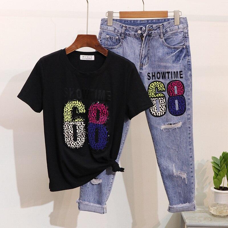 Nero 2019 Due Pezzi Alfabeto Corta Estate Rosa Femme Jeans colore Vestito Set Sette Femminile Foro Di Paillettes punto shirt In il Bead Bianco Primavera T Stampa Manica UxwUqrSHI