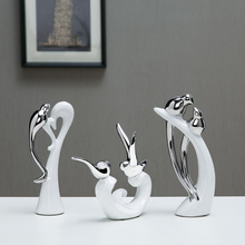 High quality Modern ceramic Lover birds fashion miniature Figurine craft miniatures feng shui home decoration accessories