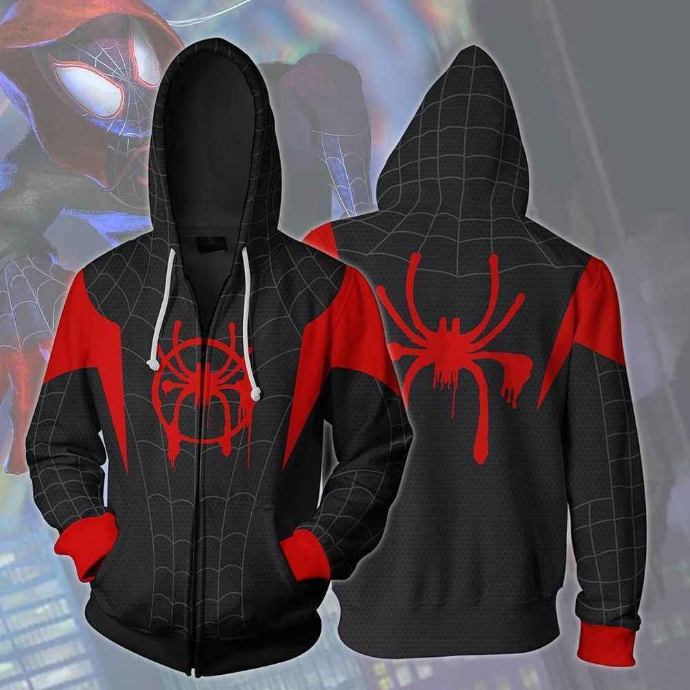 Cosplay Spiderman en el verso de araña Miles Morales Hoodie Coat sudaderas Spider Verse disfraces hombres cremallera chaqueta con capucha