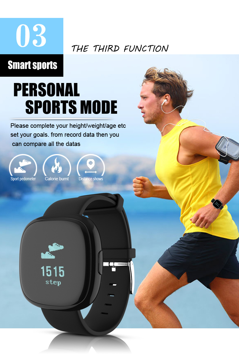 Heart Rate Pulse Monitor Smart Band Sleep Fitness Tracker Blood Pressure Bracelet Pedometer for Andriod IOS iPhone 7 Meizu Watch 10