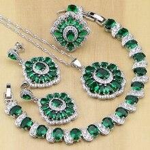 Verde cubic zirconia blanco CZ plata 925 Juegos de joyería para las mujeres Pendientes/colgante/Collar/Anillos/pulsera