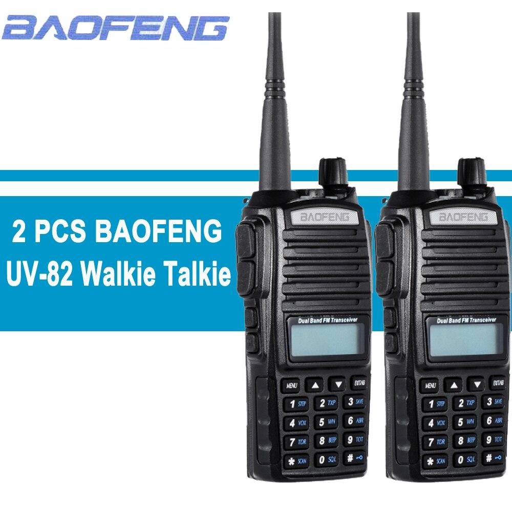 2 pcs Baofeng UV-82 Talkie Walkie 10 km Chasse Jambon Radio PTT Two Way Radio CB Radio VHF UHF Double -bande Émetteur-Récepteur UV82 128CH