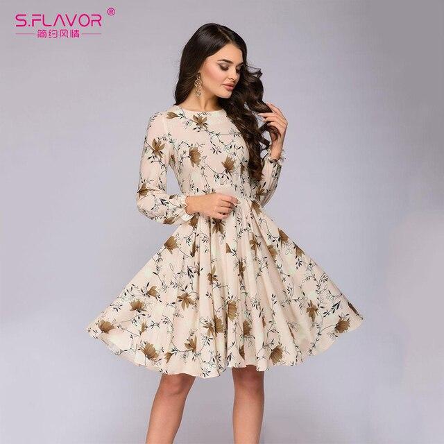 e09a76f849 S.FLAVOR Women Floral Printed Long Sleeve A-line Dress 2019 Spring Summer  O-neck Vestidos For Female Elegant Women Sundress